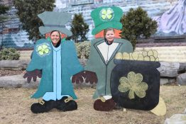 Chris and MJ Cassey look through St. Patrick's Day decorations.